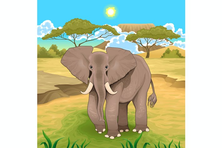 Thumbnail for African Landscape with Elephant