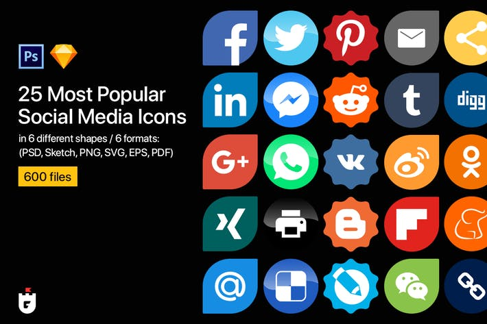 Thumbnail for 25 Most Popular Social Media Icons in 6 shapes