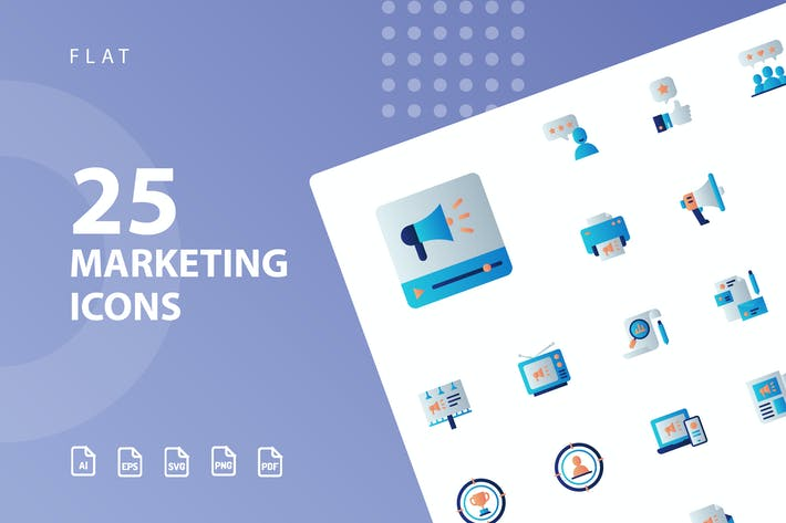 Thumbnail for Marketing Flat Icons