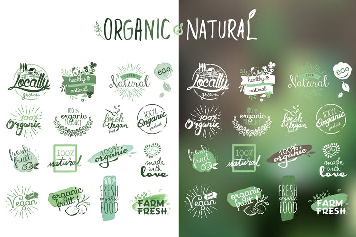 Thumbnail for Organic products stickers and badges