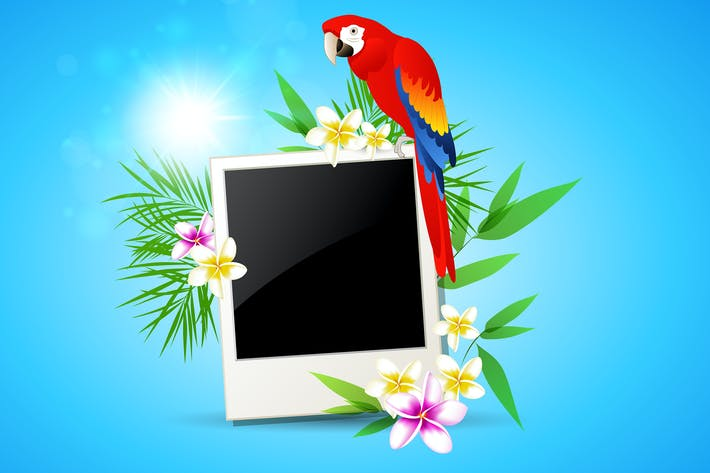 Thumbnail for Summer Background with Red Parrot