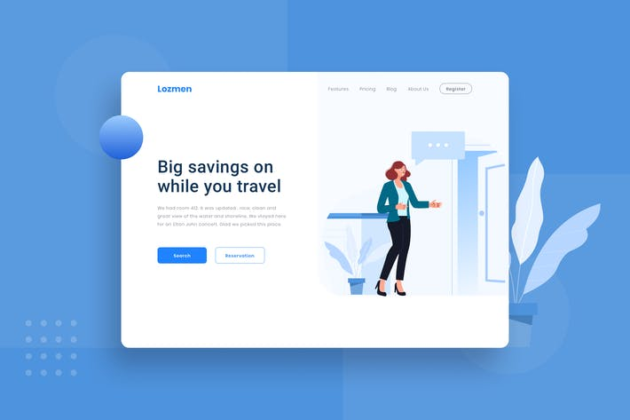 Hotel check in Landing page Illustration