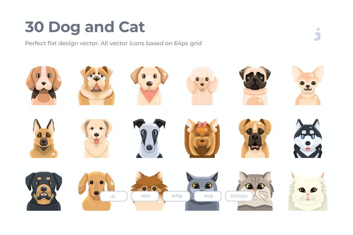 Thumbnail for 30 Dog and Cat Icons - Flat