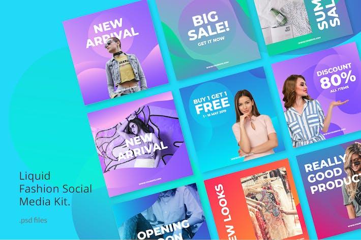 Thumbnail for Kit de médias sociaux Fashion Liquid Fond