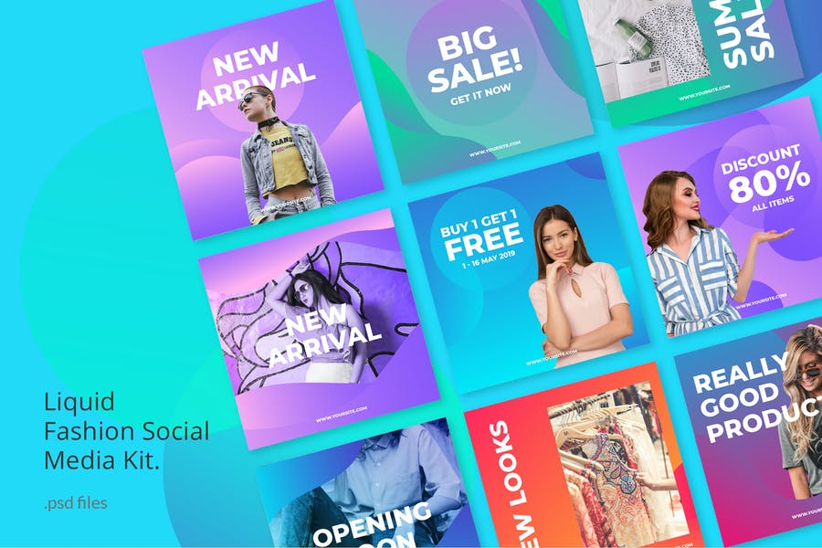Social Media Kit Fashion Liquid Background
