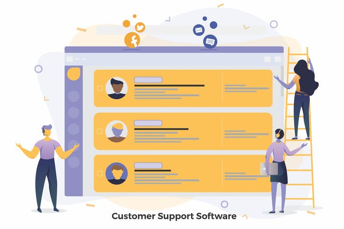 Thumbnail for Customer Support Software Illustrations CRM