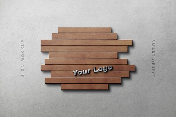 Макет Логотип деревянной панели