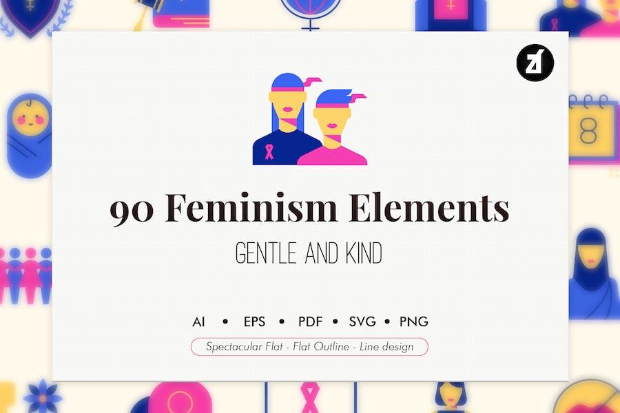 90 Feminism elements