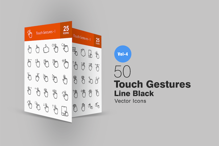Thumbnail for 50 Touch Gestures Line Icons