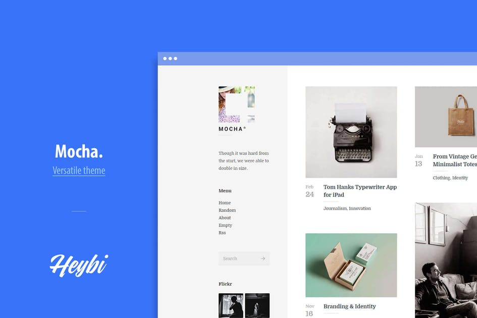 Download Mocha: Clean Blog and Portfolio Theme by Heybi