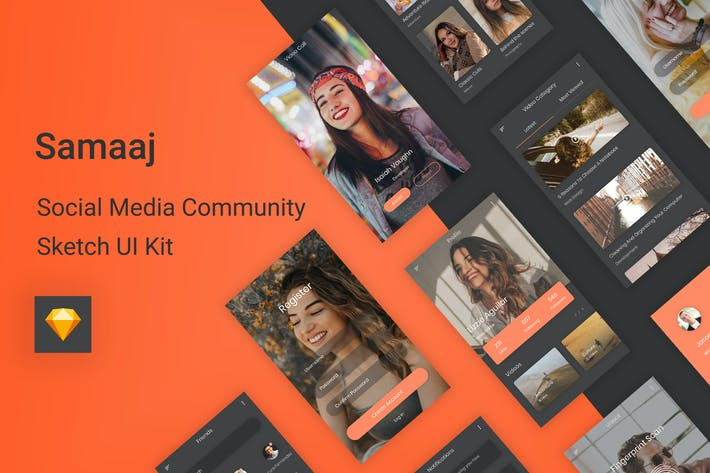 Thumbnail for Samaaj - Social Media Community Sketch UI Kit