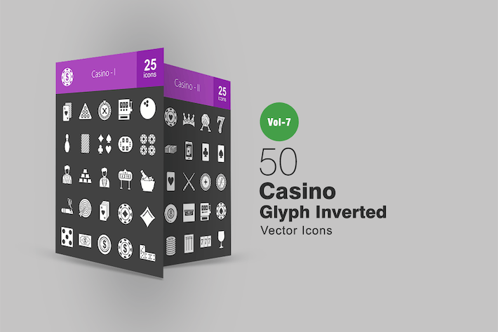 Thumbnail for 50 Casino Glyph Inverted Icons