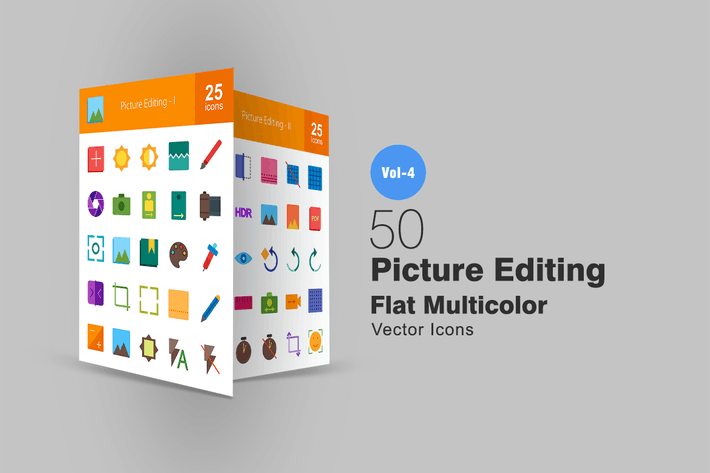 Thumbnail for 50 Picture Editing Flat Multicolor Icons