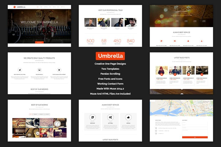 Thumbnail for Umbrella - One Page MUSE Template