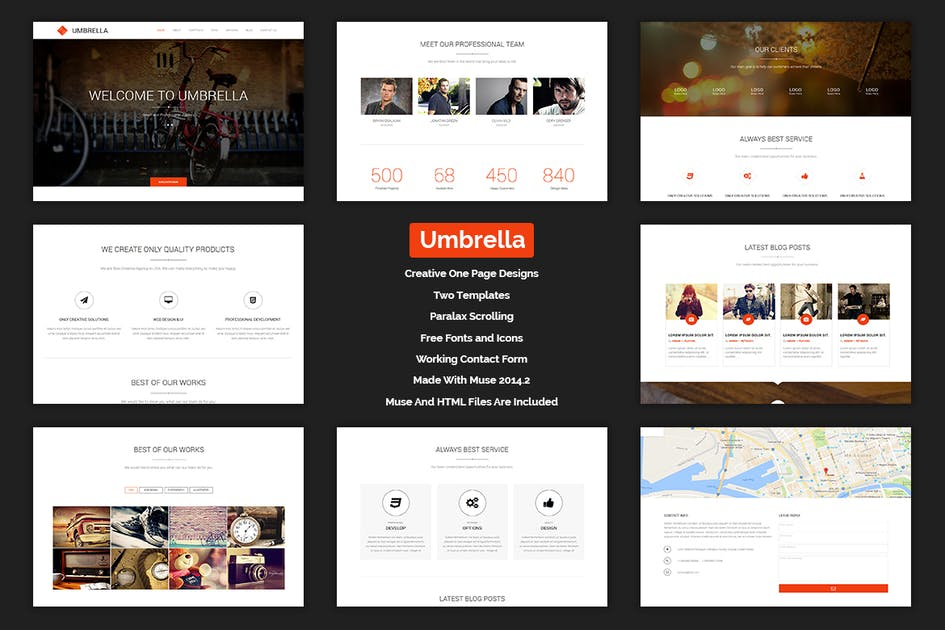 Download Umbrella - One Page MUSE Template by Muse-Master