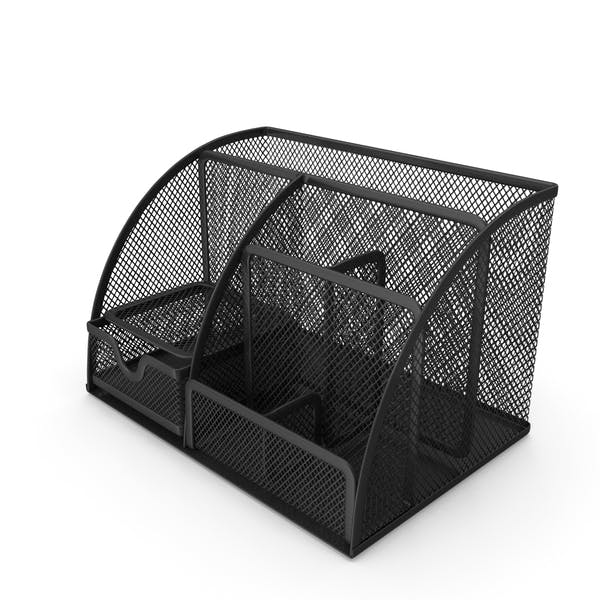 Black Mesh Desk Organizer with Drawer