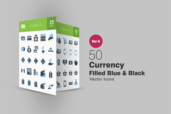 Thumbnail for 50 Currency Blue & Black Icons