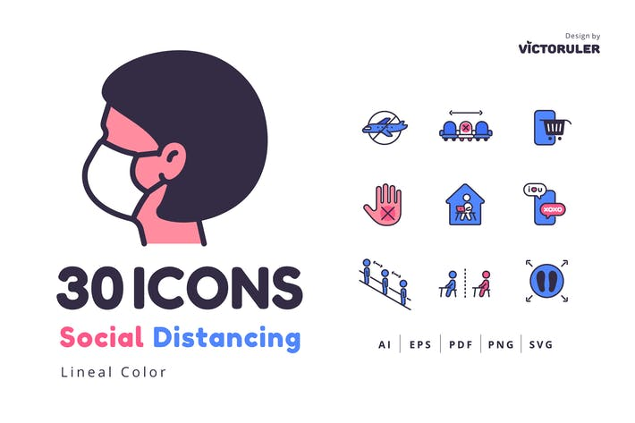 Thumbnail for 30 Social Distancing Icons Lineal Color Style