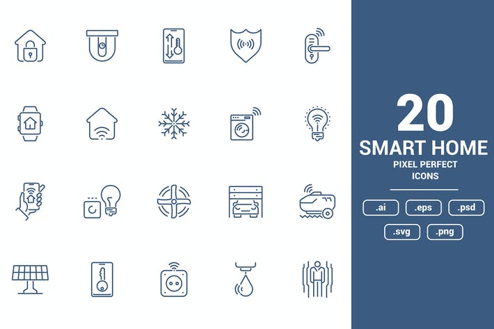Flat line icons design - Smart Home