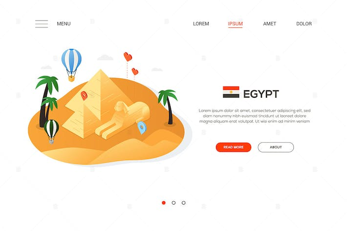Thumbnail for Travel to Egypt - isometric banner illustration