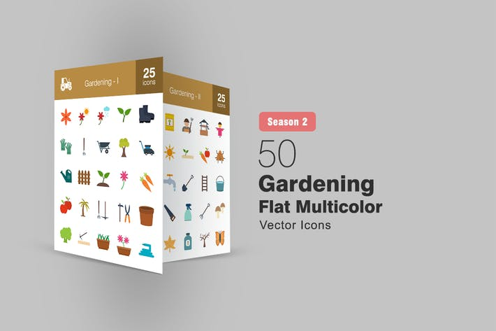 Thumbnail for 50 Gardening Flat Multicolor Icons Season II
