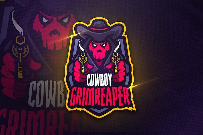 Thumbnail for Cowboy Grimreaper - Mascot & Sports Logo