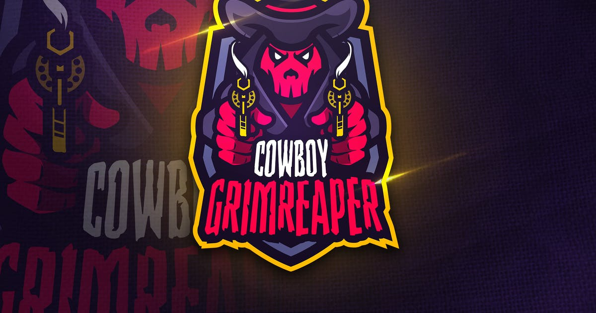 Download Cowboy Grimreaper - Mascot & Sports Logo by aqrstudio