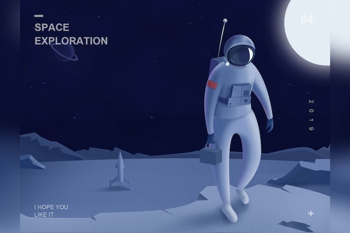 Thumbnail for Spaceman Illustration-Multi Purpose PSD Template