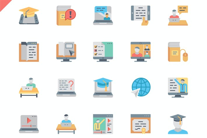 Thumbnail for Simple Set Online Education Flat Icons