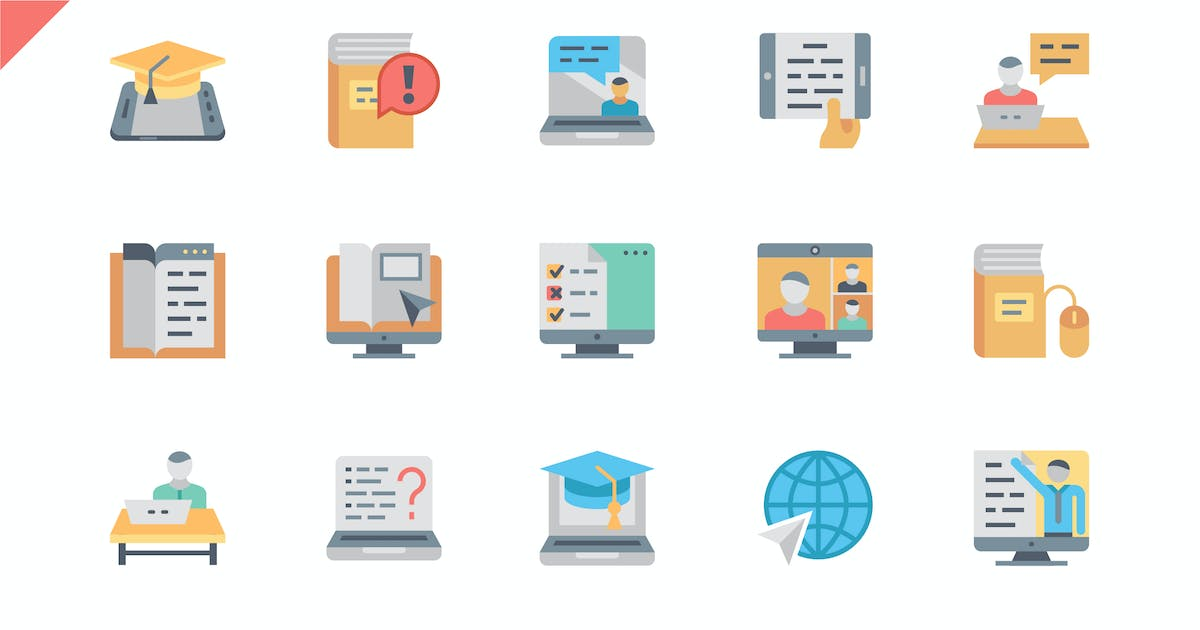 Download Simple Set Online Education Flat Icons by Unknow