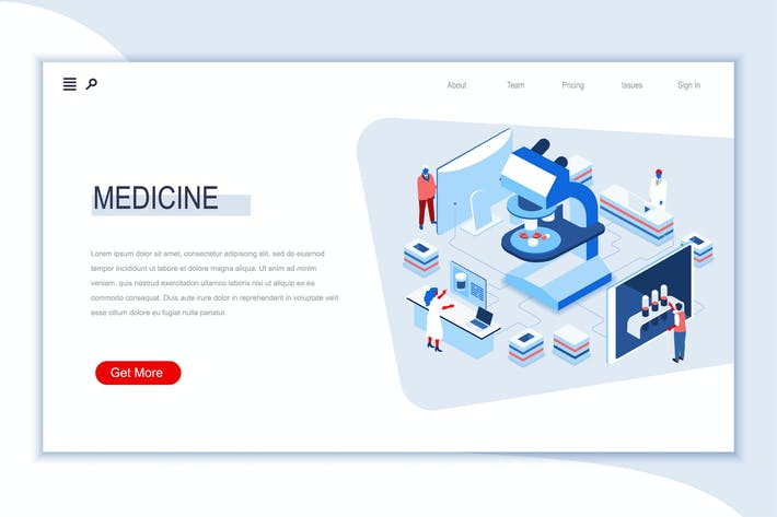 Medicine Isometric Banner Flat Concept