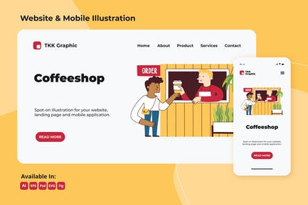 Coffee shop business web and mobile design
