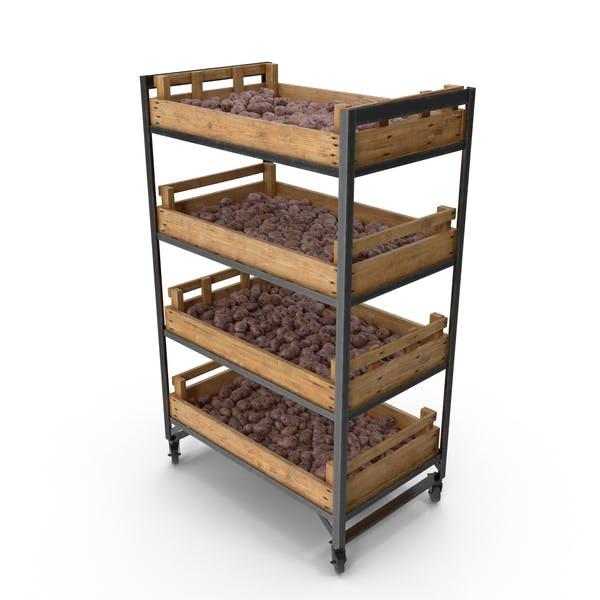 Shelf With Purple Potatoes