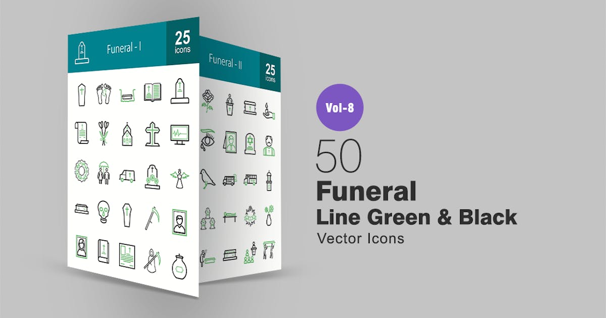 Download 50 Funeral Green & Black Line Icons by IconBunny