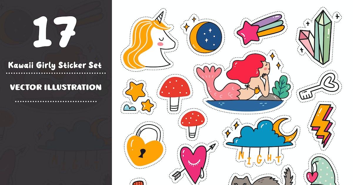 Download Kawaii Girly Sticker Set by GoDoodle