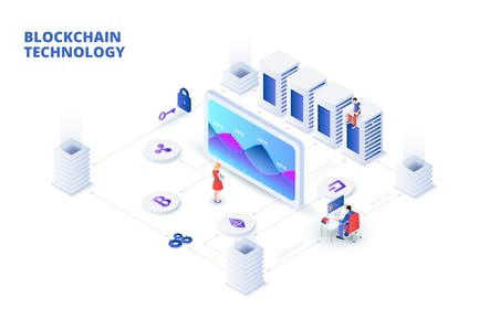 Isometric blockchain and cryptocurrency concept