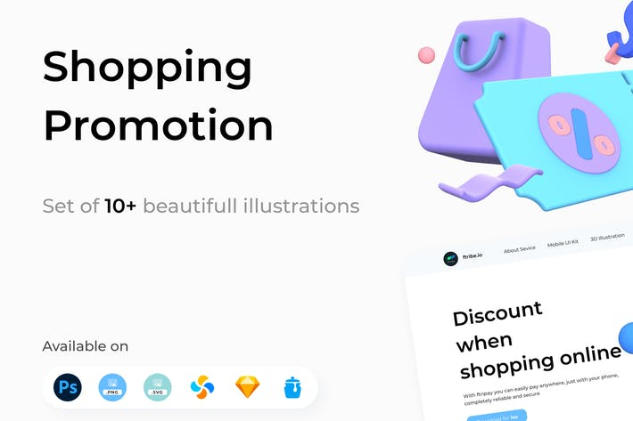 Shopping-Promotion 3D Illustrationen