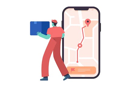 Delivery Route Flat Illustration