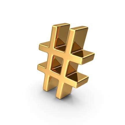 Gold Hash Tag Symbol