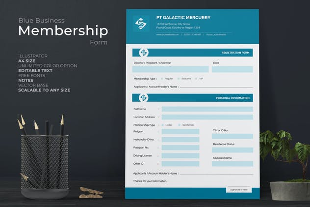 Clean Registration Form With Blue Accent
