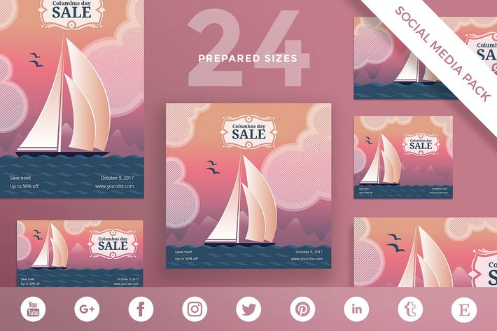 Thumbnail for Columbus Day Sale Social Media Pack Template