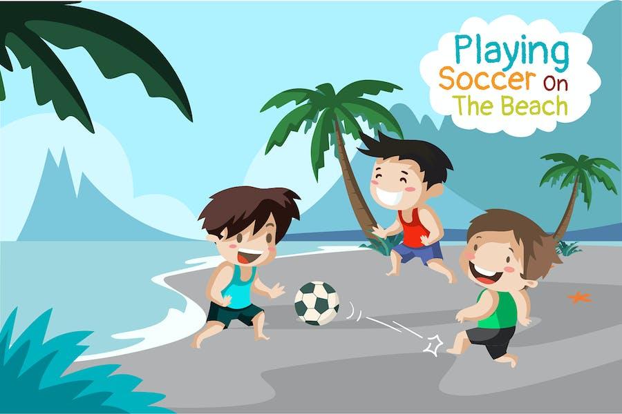 Fußball spielen am Strand - Illustration