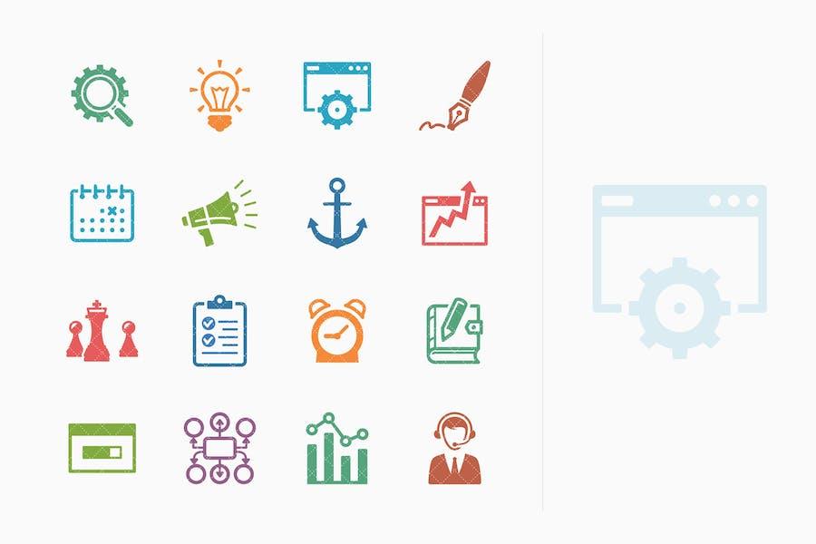 Íconos de marketing en Internet y SEO coloreado - Kit 5