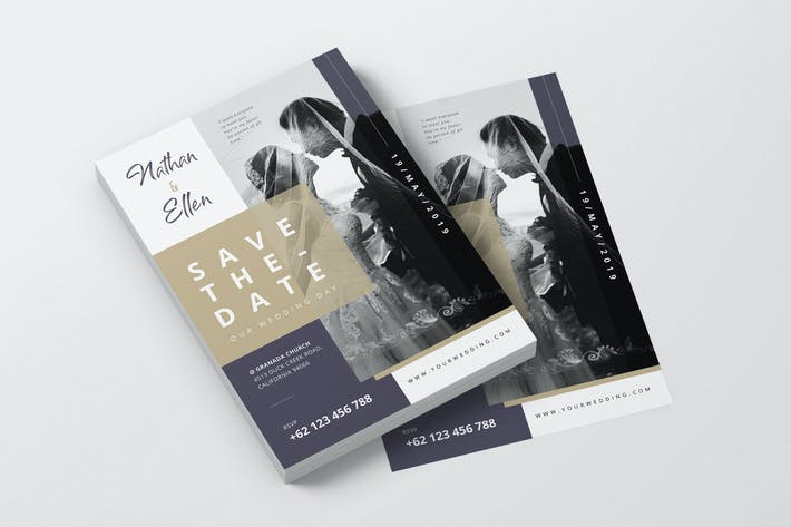 Cover Image For Elegant Wedding Invitation AI and PSD Flyer Vol.2