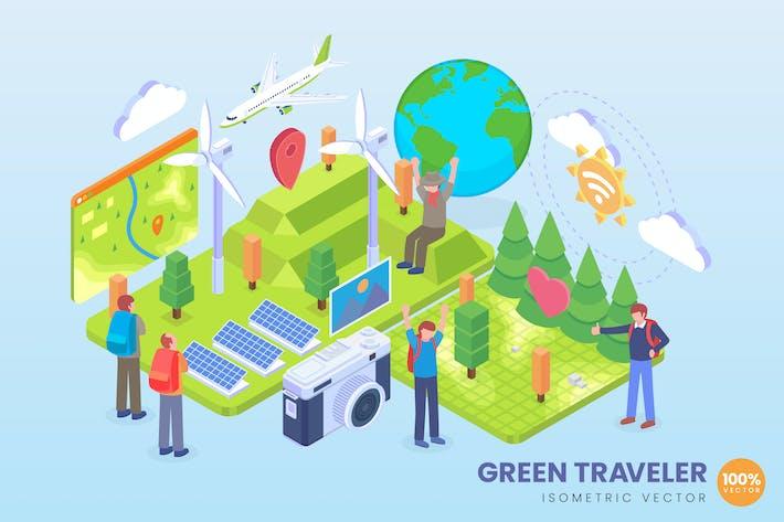 Isometric Green Traveler Vektor Konzept