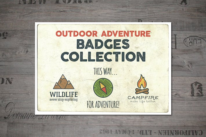Thumbnail for Outdoor Vintage Adventure Badges / Logo Set