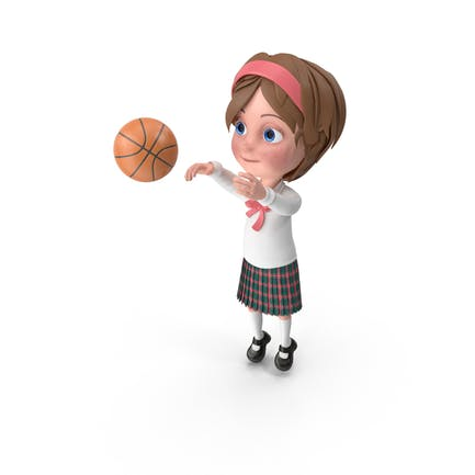 Cartoon Girl Meghan Playing Basketball