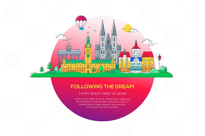 Cover Image For Following the dream - vector line illustration