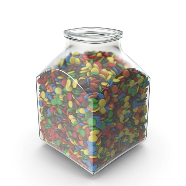 Thumbnail for Square Jar with Colored Chocolate Buttons