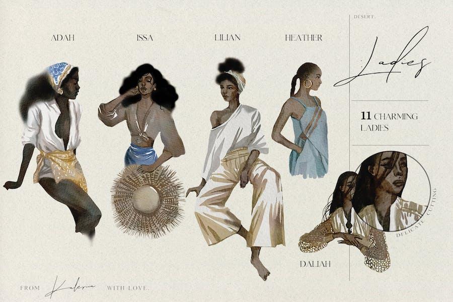 Watercolor women of color - trendy summer set